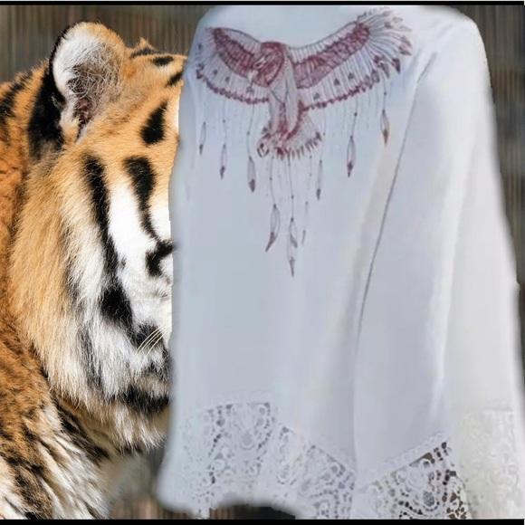 LAST- Indian Eagle White Lace Bell Sleeve Kimono